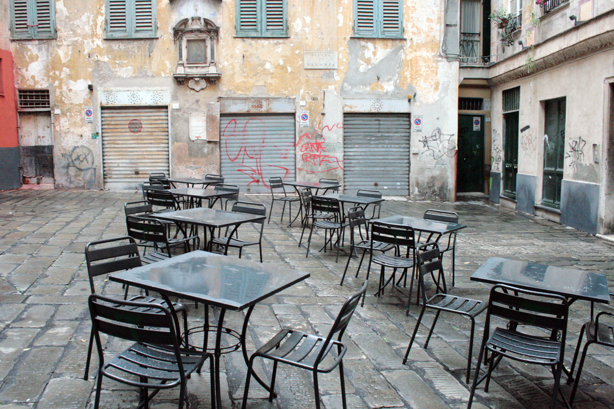 Gähnende Leere in Genua: die Piazza Valoria in Genua. Foto: Julia Marre