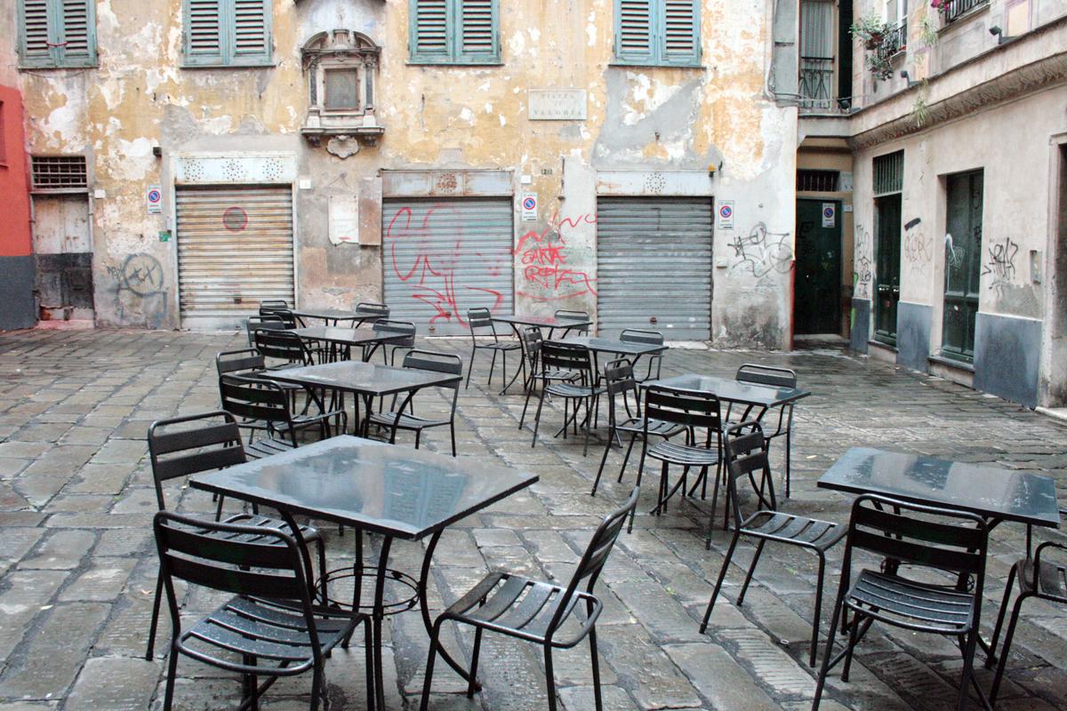 Gähnende Leere in Genua: die Piazza Valoria in Genua. Foto: Julia Marre